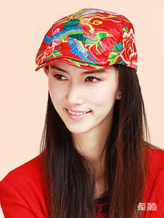 缎面凤凰刺绣民族风绣花帽