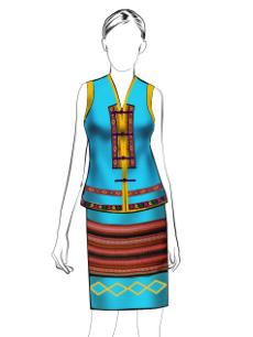 海南传统黎族服饰女无袖围裙方案设计