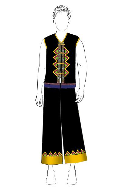 海南传统黎族服饰男无袖方案设计
