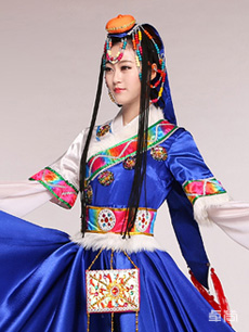 女款蓝色藏族服饰定制